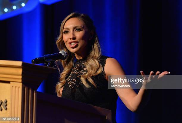 Boxing reporter Crystina Poncher speaks to the crowd at the fifth annual Nevada Boxing Hall of Fame induction gala at Caesars Palace on August 12...