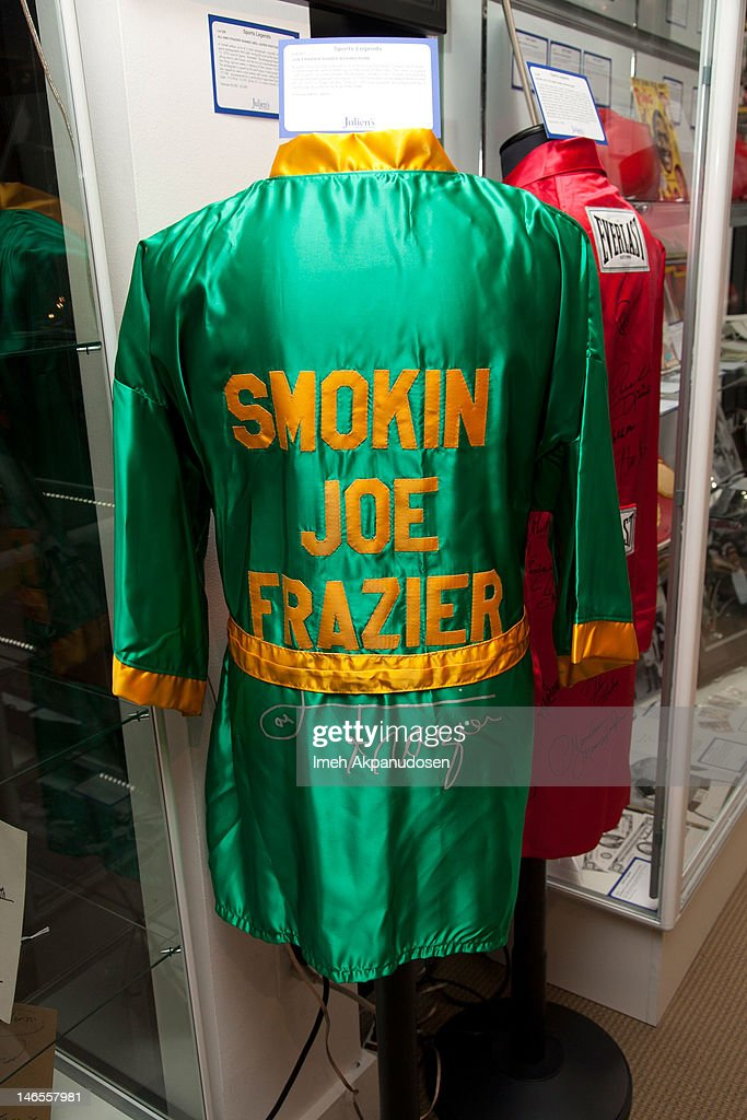 A boxing robe signed by Joe Frazier on display during the Music Icons And Sports Legends Memorabilia Auction Press Call at Julien's Auctions Gallery on June 18, 2012 in Beverly Hills, California.