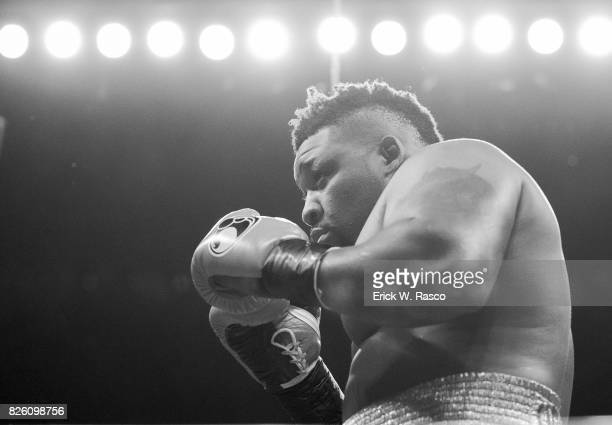 Showtime Championship Boxing Jarrell Miller in action vs Gerald Washington during heavyweight bout at the Barclays Center Brooklyn NY CREDIT Erick W...