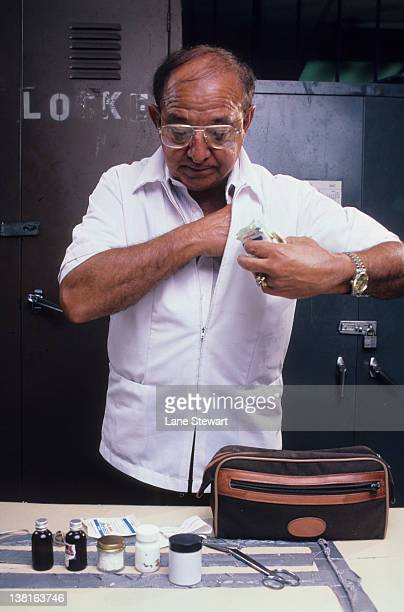 Trainer Angelo Dundee with his fight kit in locker room CREDIT Lane Stewart
