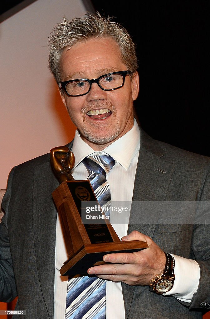 Boxing trainer <a gi-track='captionPersonalityLinkClicked' href=/galleries/search?phrase=Freddie+Roach&family=editorial&specificpeople=749053 ng-click='$event.stopPropagation()'>Freddie Roach</a> speaks as he is inducted into the Nevada Boxing Hall of Fame during the inaugural induction gala at the Monte Carlo Resort and Casino on August 10, 2013 in Las Vegas, Nevada.