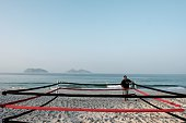 Boxing trainer Moacyr Lima prepares a beach boxing ring at Pepe beach in Rio de Janeiro Brazil on July 26 2016 Since Lima first installed a ring on a...