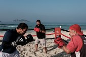 Boxing trainer Moacyr Lima trains men inside a beach boxing ring at Pepe beach in Rio de Janeiro Brazil on July 26 2016 Since Lima first installed a...