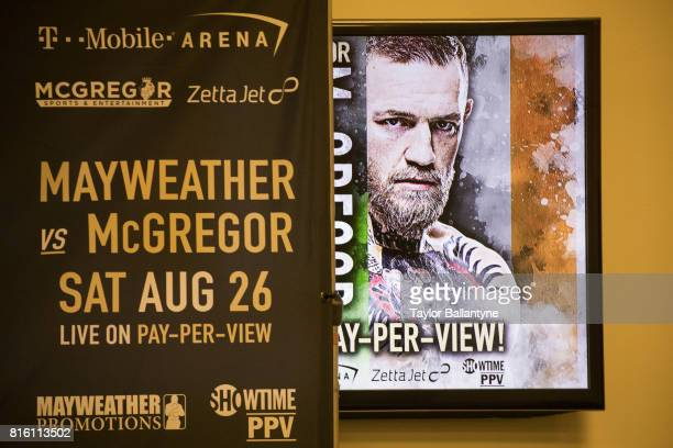 View of sign in arena for Floyd Mayweather Jr vs Conor McGregor event promoting their upcoming Super Welterweight fight during New York leg of press...