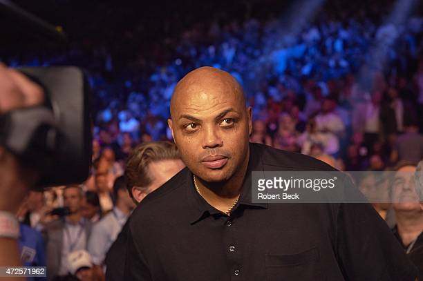 WBA Super World/ WBC/ WBO Welterweight Title Closeup of former NBA player and TNT commentator Charles Barkley in crowd before Floyd Mayweather vs...