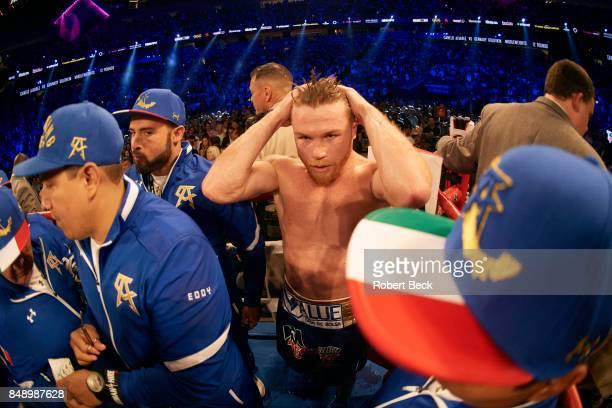WBA/WBC/IBF/IBO Middleweight Title Canelo Alvarez after fight vs Gennady Golovkin during championship bout at TMobile Arena Las Vegas NV CREDIT...