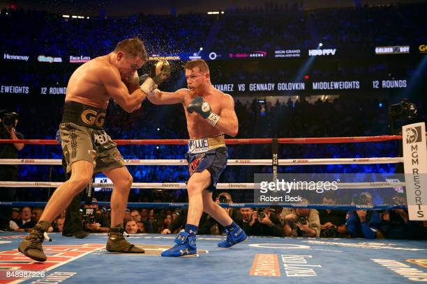 WBA/WBC/IBF/IBO Middleweight Title Canelo Alvarez in action vs Gennady Golovkin during championship bout at TMobile Arena Las Vegas NV CREDIT Robert...