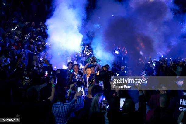 WBA/WBC/IBF/IBO Middleweight Title Gennady Golovkin on his way to ring before fight vs Canelo Alvarez at TMobile Arena Las Vegas NV CREDIT Robert Beck