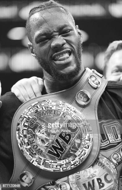 WBC Heavyweight Championship Closeup of Deontay Wilder victorious wearing championship after Showtime Championship bout vs Bermane Stiverne at...