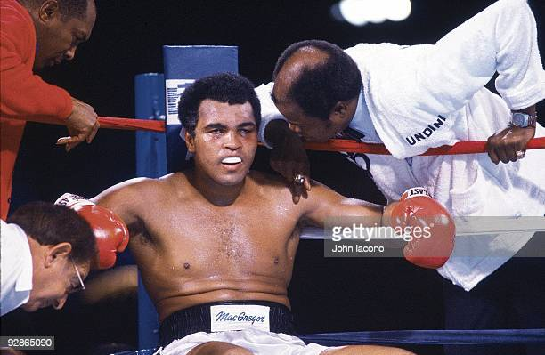 WBC Heavyweight Title Closeup of Muhammad Ali in corner during fight vs Larry Holmes at Ceasars Palace Cover Las Vegas NV 10/2/1980 CREDIT John Iacono