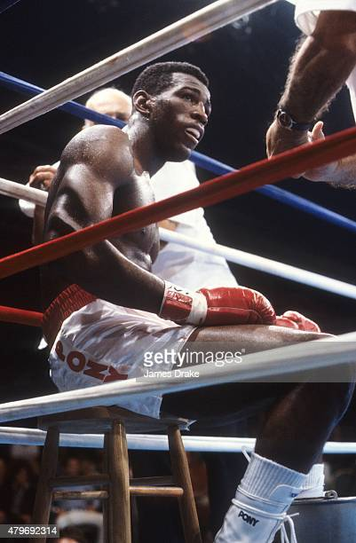 WBC Light Heavyweight Title Matthew Saad Muhammad sitting in his corner during fight vs John Conteh at Resorts International Hotel Casino Atlantic...
