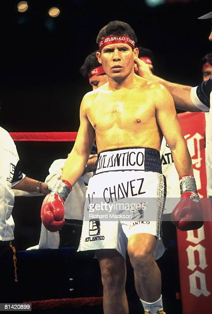 Boxing WBC Light Welterweight Title Julio Cesar Chavez in ring before fight vs Hector Macho Camacho at Thomas Mack Center Las Vegas NV 9/12/1992