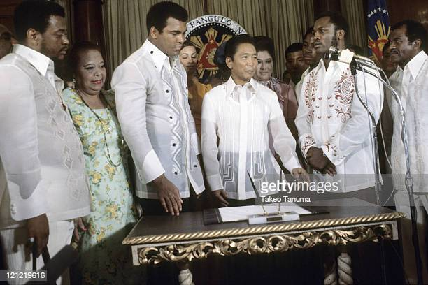 WBC/ WBA Heavyweight Title Muhammad Ali and Joe Frazier meeting with Philippines President Ferdinand Marcos before fight Manila Philippines 9/17/1975...