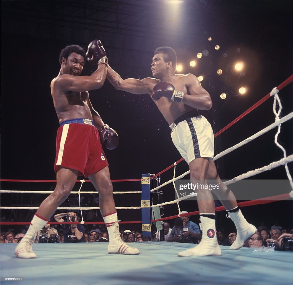 WBC/ WBA World Heavyweight Title: Muhammad Ali in action vs George Foreman during fight at Stade du 20 Mai. Kinshasa, Zaire