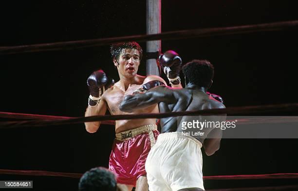 WBC/ WBA World Middleweight Title Nino Benvenuti in action vs Emile Griffith during fight at Shea Stadium Flushing NY CREDIT Neil Leifer