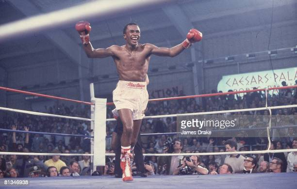 Boxing WBC Welterweight Title Sugar Ray Leonard victorious after winning fight vs Wilfred Benitez at Caesars Palace Cover Las Vegas NV