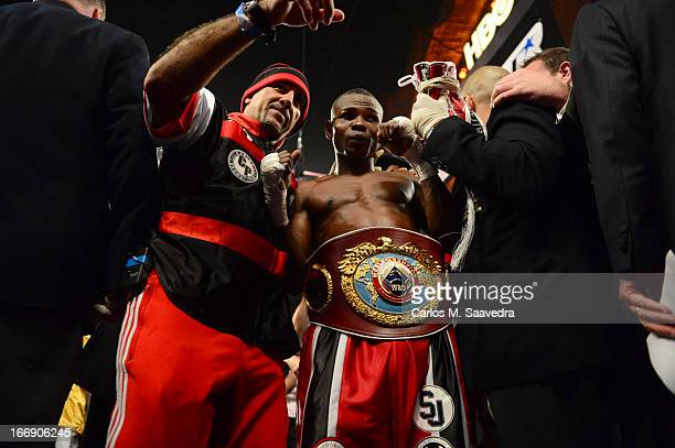 WBO/ WBA Super World Super Bantamweight Title Guillermo Rigondeaux victorious with trophy belt after winning fight vs Nonito Donaire at Radio City...