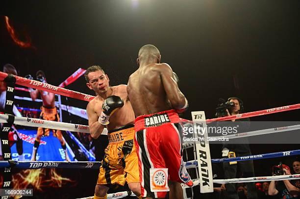 WBO/ WBA Super World Super Bantamweight Title Nonito Donaire in action vs Guillermo Rigondeaux during fight at Radio City Music Hall New York NY...
