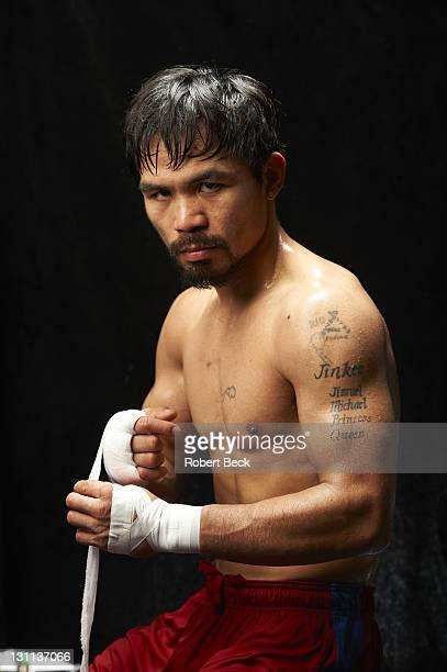WBO Welterweight Title Preview Portrait of Manny Pacquiao during photo shoot before fight vs Juan Manuel Marquez at Wild Card Boxing Club gym in...