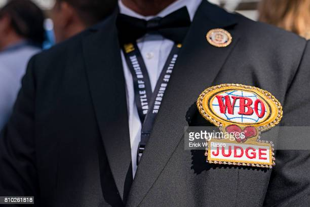 WBO World Welterweight Title Closeup of judge with WBO lapel during Manny Pacquiao vs Jeff Horn bout at Suncorp Stadium Brisbane Australia 7/2/2017...