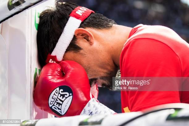 WBO World Welterweight Title Closeup of Manny Pacquiao in prayer his corner before bout vs Jeff Horn at Suncorp Stadium Brisbane Australia 7/2/2017...
