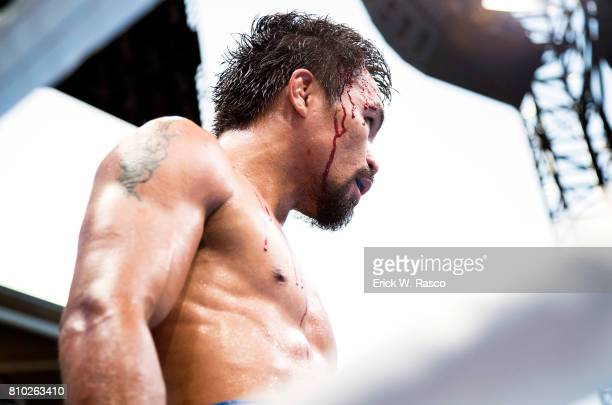 WBO World Welterweight Title Closeup of Manny Pacquiao in his corner during bout vs Jeff Horn at Suncorp Stadium Brisbane Australia 7/2/2017 CREDIT...
