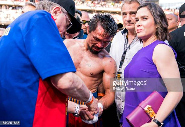 WBO World Welterweight Title Closeup of Manny Pacquiao in ring with his wife Jinkee Pacquiao after bout vs Jeff Horn at Suncorp Stadium Brisbane...