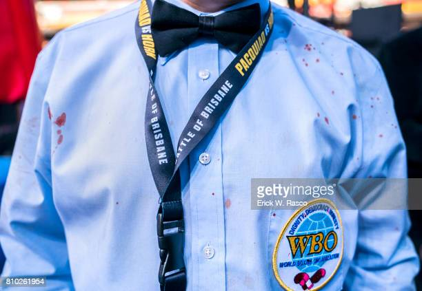 WBO World Welterweight Title Closeup of referee wearing shirt with spattered blood during Manny Pacquiao vs Jeff Horn bout at Suncorp Stadium...