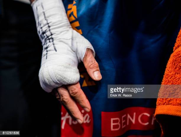 WBO World Welterweight Title Closeup of taped hands of Manny Pacquiao during bout vs Jeff Horn at Suncorp Stadium Brisbane Australia 7/2/2017 CREDIT...