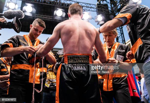 WBO World Welterweight Title Rear view of Jeff Horn in his corner before bout vs Manny Pacquiao at Suncorp Stadium Brisbane Australia 7/2/2017 CREDIT...