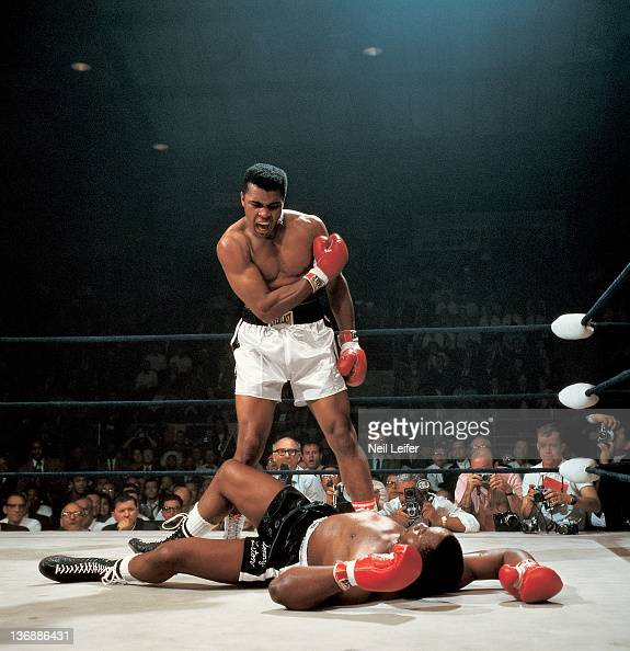 Boxing World Heavyweight Title Muhammad Ali in action after first round knockout of Sonny Liston at St Dominic's Arena Cover Lewiston ME 5/25/1965...