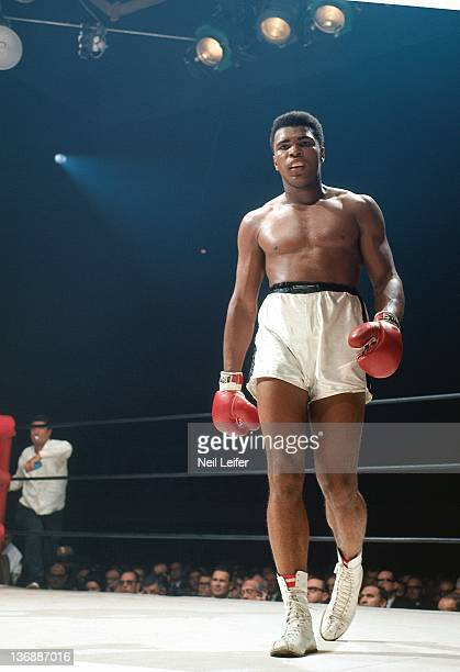 Boxing World Heavyweight Title Muhammad Ali walking to corner during fight vs Floyd Patterson at Convention Center Las Vegas NV CREDIT Neil Leifer