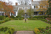 Boxwood garden at Mary Washington House, purchased by George Washington for his mother in 1772, Fredericksburg, VA, U.S.A.