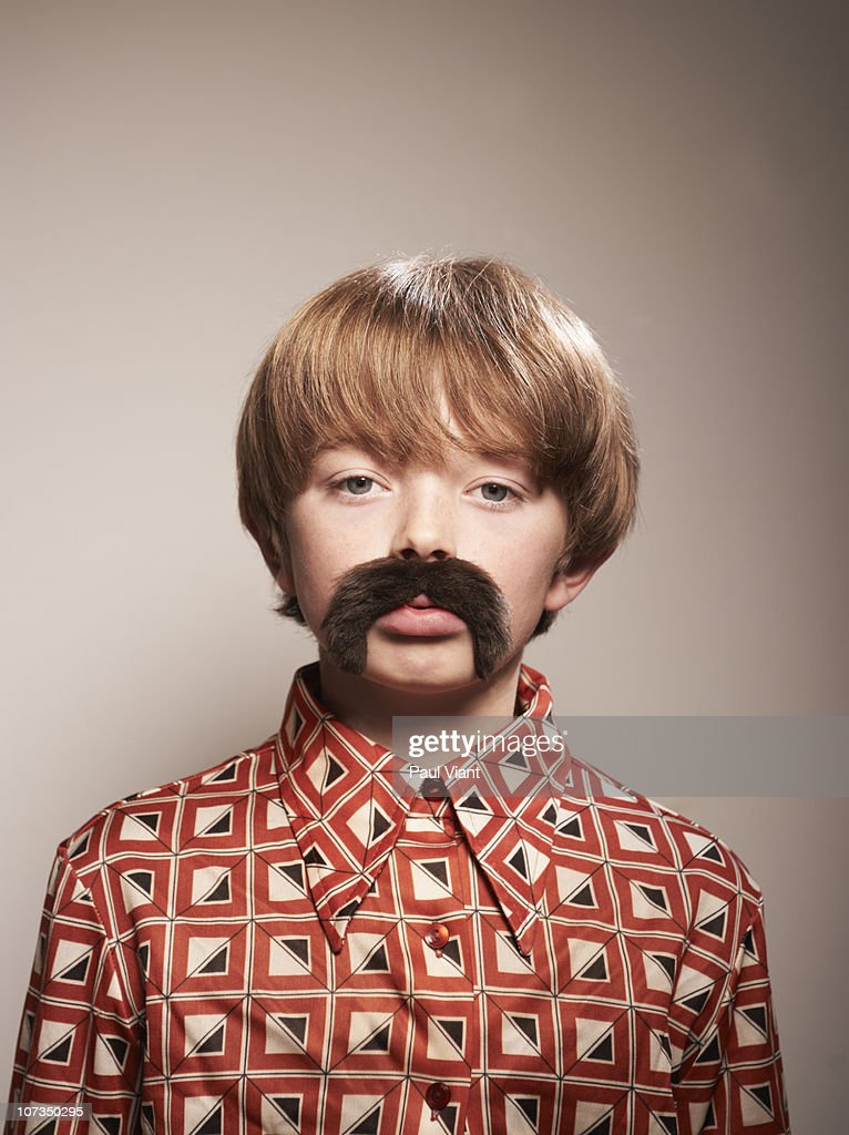 boy [10-12] with 70's mustache : Stock Photo