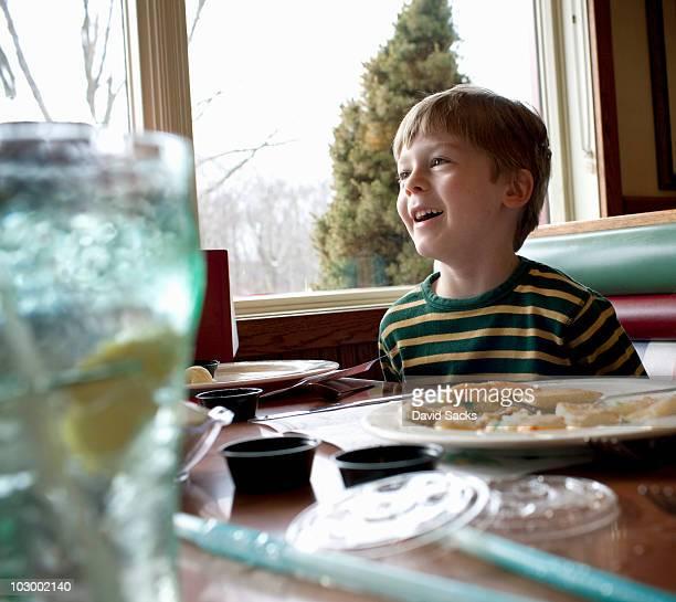 Boy, 5-7, in diner