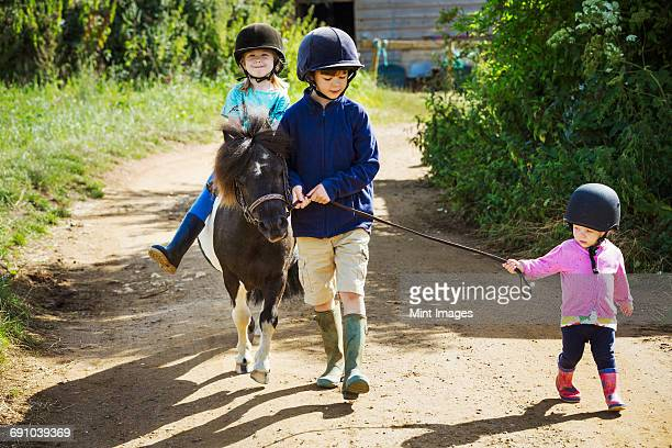 A boy, a toddler, and a girl riding a pony on a dirt path.