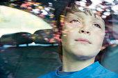 boy aged 10 in car.