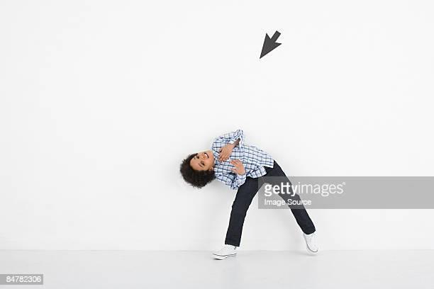 Boy and computer arrow
