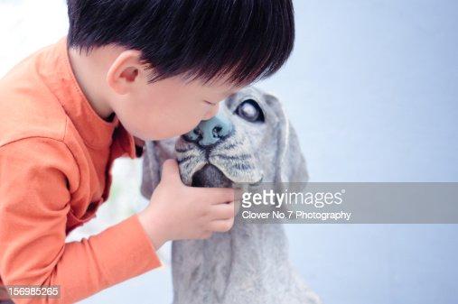 Boy and dog : Stock Photo
