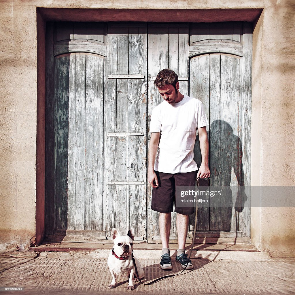 Boy and dog : Stock Photo