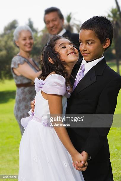 Boy and girl dancing at quinceanera