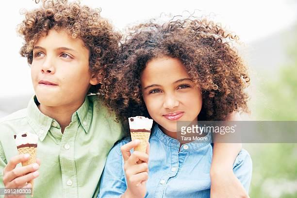 boy and girl eating ice-cream