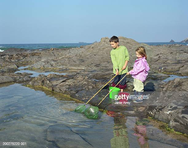 Boy (6-8) and girl (2-4) holding fishing nets by rock pool
