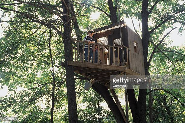 Boy and girl in tree house