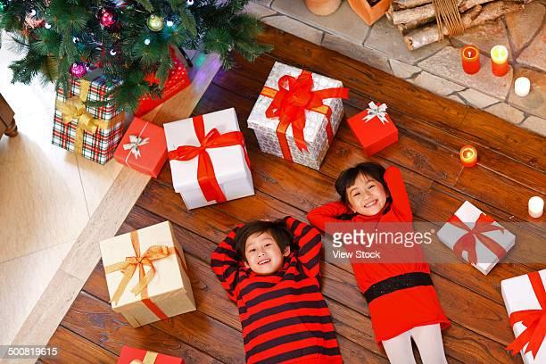 Boy and girl on Christmas