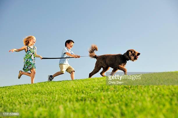 Boy and Girl walk their dog