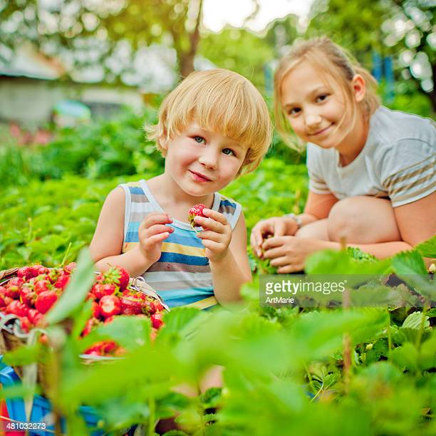 Boy and girl with strawberry
