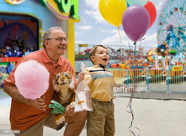 Boy and Grandfather in a Fair