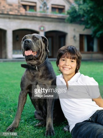 Boy and his dog : Stock Photo