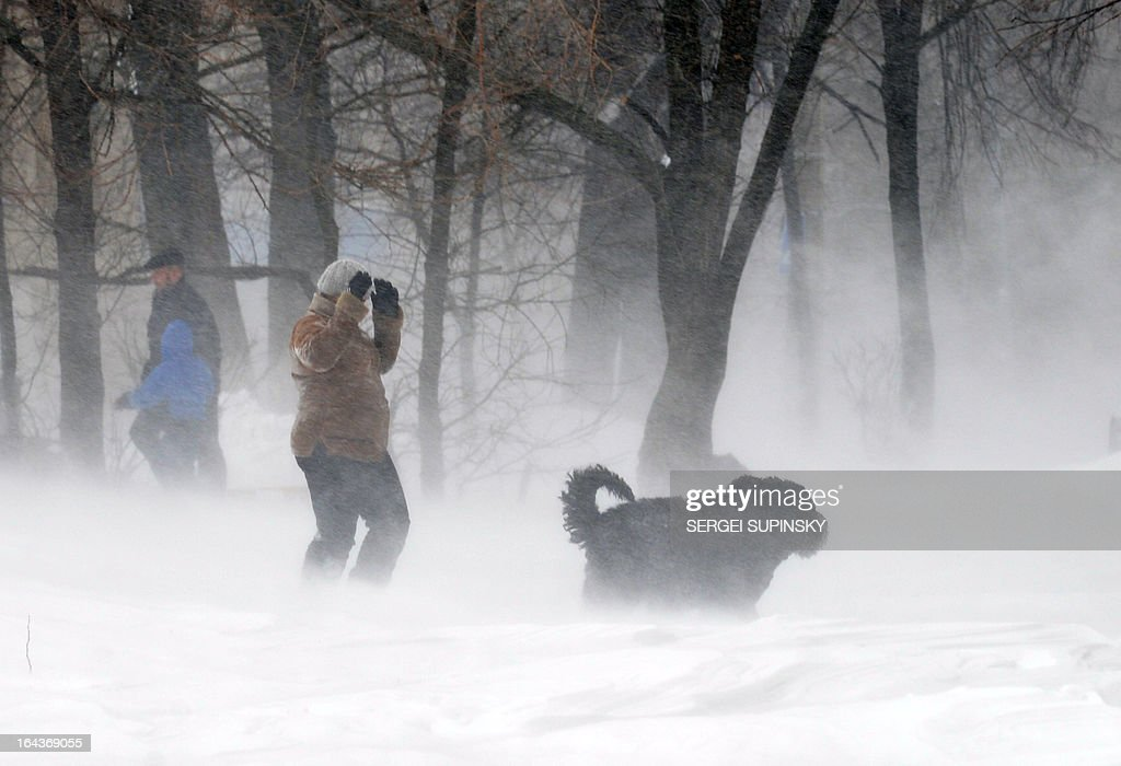 A boy and his dog walk during a heavy snow storm in the Ukraine capital Kiev on March 23, 2013. Kiev administration declared a state of emergency in the city. AFP PHOTO/SERGEI SUPINSKY